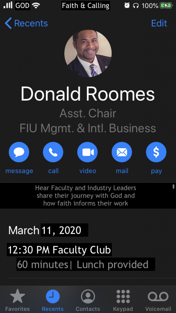 Faith and Calling - Donald Roomes